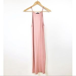 Forever 21 blush pink ribbed fitted midi dress